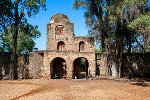 Walls and the impressive gate to enter the grounds of the Debre Birhan Selassie (Trinity and Mountain of Light) Church in the outskirts of Gondar, Amhara Region, Semien Gondar Zone, Ethiopia, Africa,...  -  Constantinos Petrinos