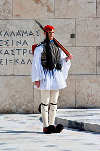 Soldier from the Greek Presidential Guard, guarding the Greek Tomb of the Unknown Soldier, the Presidential Mansion and the gate of Evzones camp in Athens. Attica region, Athens, Greece, Mediterranean...  -  Constantinos Petrinos