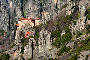 The Holy Monastery of Rousanou / St. Barbara which was founded in the middle of 16th century.  Meteora, Kalambaka, Thessaly Region, Greece, Mediterranean, February 2015.  -  Constantinos Petrinos