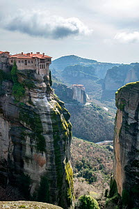 The Holy Monastery of Varlaam, built in 1541. Meteora Rock Monasteries UNESCO World Heritage Site Kalambaka, Thessaly Region, Greece, Mediterranean, February 2015.  -  Constantinos Petrinos