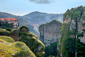 Varlaam Holy Monastery, second largest monastery in the Meteora complex, built in 154. Meteora, Kalambaka, Thessaly Region, Greece, February 2015.  -  Constantinos Petrinos
