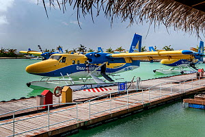 Trans Maldivian hydroplane (seaplane) is docked, hydroplane airport, Male, Maldives, Indian Ocean, April 2010.  -  Constantinos Petrinos
