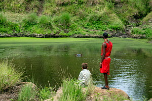 Young boy dressed in safari clothes, with Samburu warrior dressed in the traditional red clothes watching a Hippopotamus  (Hippopotamus amphibius) in small pond right,  Masai Mara National Reserve, Ke... - Constantinos Petrinos