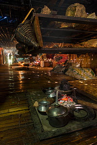 Interior of a Nyshi Long House, Nyshi Tribe, Arunachal Pradesh.North East India, November 2014. - Pete Oxford