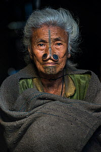 Apatani woman woman with facial tattoos and traditional cane nose plugs / Yapin Hulo made to make them look unattractive to males from other tribes. These facial modifications are now outlawed. Apatan... - Pete Oxford