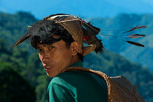 Nyshi man, Arunachal Pradesh, North East India, November 2014. - Pete Oxford