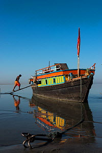Ferry on Brahmaputra River, Assam, North East India, October 2014. - Pete Oxford