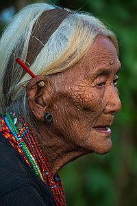 Elderly Konyak Naga woman with traditional jewelry. Mon district. Nagaland,  North East India, October 2014. - Pete Oxford