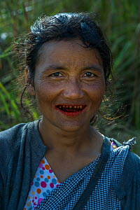 Khasi woman chewing Betel nut, a mild stimulant which leaves red staining on the teeth, Barabazar market, Shillong, Meghalaya, North East India. - Pete Oxford