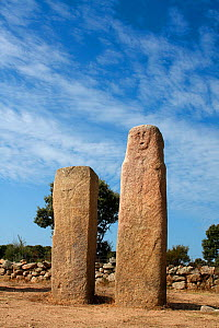 Bronze age granite standing stones or 'Menhirs' carved, c 3,500 years ago,  Cauria, Corsica island, Corsica, France - Pascal Pittorino
