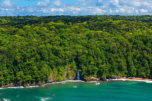 Aerial view of waterfall on the coastline of Corcovado National Park, Osa Peninsula, Puntarenas Province, Costa Rica. December 2014. - Juan  Carlos Munoz