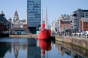 Boat moored at Canning Dock, part of the Albert Dock complex, Liverpool, Merseyside, UK, June 2015. All non-editorial uses must be cleared individually. - Norma  Brazendale