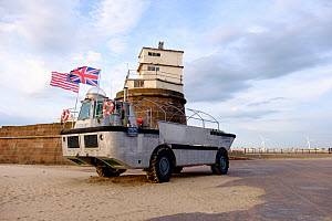 Privately owned Amphibious Rescue vehicle 'Defiant II' on outside Fort Perch Rock, New Brighton, Merseyside, UK, July 2015. All non-editorial uses must be cleared individually. - Norma  Brazendale