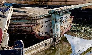 Canal boat awaiting restoration in permanent mooring at Ellesmere Port Boat museum. Cheshire, UK, September 2015. - Norma  Brazendale