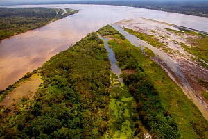 Aerial view of Amazon River, with settlements and secondary rainforest, near Iquitos, Peru. July 2015. - Mark  Bowler