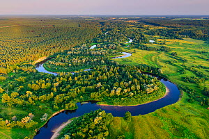 Aerial view of Rver Koiva, and the border between Estonia and Latvia in Southern Estonia, Valgamaa, Estonia. August 2014. Estonia is on the left side of the river and Latvia on the right bank. - Sven  Zacek