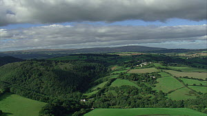 Aerial view tracking over the Teign Valley, Dartmoor National Park, Devon, England, UK, October 2015.  -  Andrew Cooper