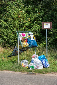 Illegal dumping of household refuse bags in net along roadside meant for throwing in cans and plastic bottles, Belgium, August. - Philippe Clement