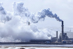 Naughton Power Plant, a coal-fired power station, near Kemmerer, Wyoming, USA, March 2014.  -  Gerrit  Vyn