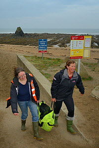 British Divers Marine Life Rescue animal medics Michelle Clement and Rachel Shorland carry a very weak, injured, grey seal pup (Halichoerus grypus) 'Jenga', in a bag after rescuing it from Black Rock...  -  Nick Upton
