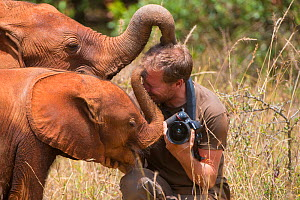Photographer Inaki Relanzon with African elephant (Loxodonta africana) calf at David Sheldrick African Elephant Orphanage. Nairobi National Park, Nairobi, Kenya.  -  Inaki  Relanzon