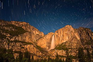 Night stars over Yosemite Falls, Yosemite National Park, California, USA, May 2014. - Jeff Vanuga
