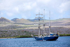 Sailing ship off Cormorant Point, Floreana Island, Galapagos Islands,  East Pacific Ocean - Franco  Banfi