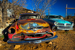 Old cars near Hackberry General Store, Hackberry, on Route 66, Arizona, USA, February 2015. - Juan  Carlos Munoz