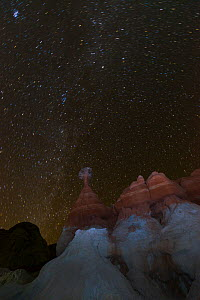 Toadstool shaped hoodoo at night, Grand Staircase-Escalante National Monument, Utah, Usa, February 2015.  -  Juan  Carlos Munoz