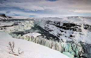 Partially frozen Gullfoss waterfall on the Hvita River, Southern Iceland, March 2015. - Graham  Eaton