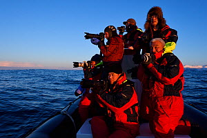 Chinese whale watching and photography tourists with photographer, Magnus Lundgren, and guide Henrik Jorgensen in a Zodiac inflatable rubber boat, near Senja, Troms County, Norway, Scandinavia, Januar...  -  Wild  Wonders of Europe / Widstrand