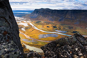 View of the Laitaure delta and Rapa River, Sarek National Park, Laponia World Heritage Site,  Sweden, September 2013. - Orsolya Haarberg