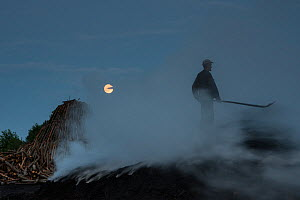 Charcoal burner working on a burning charcoal pile, Transylvania, Romania, June 2015. - Orsolya Haarberg