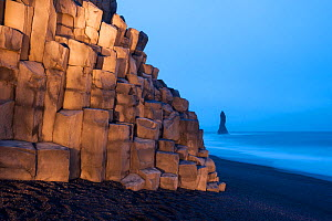 Cliff at Vik beach, light by torchlight, Iceland, March 2015.  -  Niall Benvie