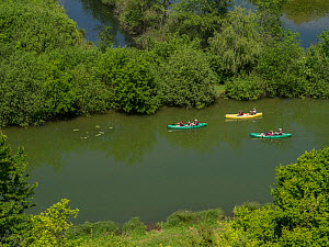 Families canoeing on the River Somme near Peronne, France, May 2015.  -  Pascal  Tordeux