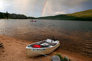 Doug Anderson fishing on Stanley Lake during a rain shower with rainbow, Stanley Lake National Recreation Area, Idaho, USA. July 2015. Model released.  -  Kirkendall-Spring