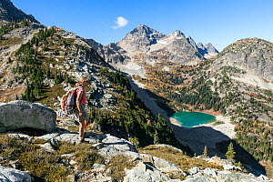 Vicky Spring hiking near Horsefly Pass above Lewis Lake, North Cascade National Park Complex, Washington, USA. October 2015. Model Released.  -  Kirkendall-Spring