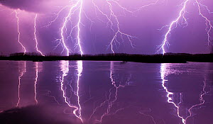 Lightning storm over Lake Csaj, Kiskunsagi National Park, Pusztaszer, Hungary. May 2012.  -  Bence  Mate