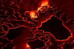 Lava Lake at night in the crater of Nyiragongo Volcano, Virunga National Park, North Kivu Province, Democratic Republic of Congo. September 2015. - Christophe Courteau