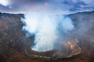 Steam rising from the crater of Nyiragongo Volcano. Virunga National Park, North Kivu Province, Democratic Republic of Congo. September 2015.  -  Christophe Courteau
