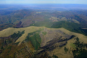 Aerial view of deforestation in the Sureanu Mountains.  Carpathians, Romania. October 2014.  -  Zoltan Nagy