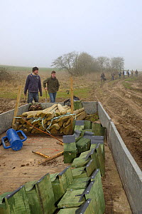Royal Agricultural University students prepare to erect a number of nestboxes for Tree Sparrows (Passer montanus) and other farmland birds as part of the Marlborough Downs Nature Improvement Area proj...  -  Nick Upton
