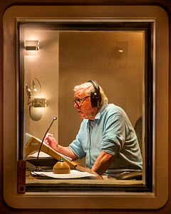 Sir David Attenborough recording voice over for BBC series, The Hunt. September 2015.  -  Huw Cordey