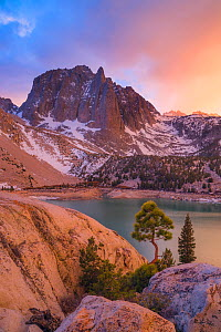 Temple Crag above Second lake, one the of the Big Pine lakes below the Palisade basin, John Muir Wilderness, Sierra Nevada, California, USA, May - Floris  van Breugel