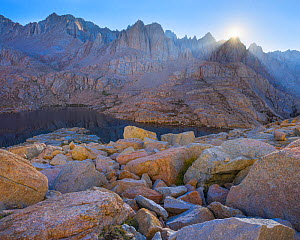 The first rays of sunshine above the Sierra Crest, illuminating granite, Mitre Basin, Sierra Nevada, Sequoia National Park, California, USA, August - Floris  van Breugel