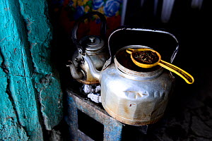 Kettle and strainer to make Ethiopian coffee, Danakil depression, Afar Region, Ethiopia, Africa. November 2014. - Enrique Lopez-Tapia