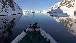 View from a ship passing through Lemaire Channel, Antarctic Peninsula.  -  Fred  Olivier