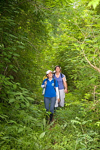 Anne Savage,  Rosamira Guillen and Project / Proyecto Titi team walking through tropical dry forest, looking for Cotton-top tamarins (Saguinus oedipus) El Ceibal, Colombia. July 2008. Critically endan...  -  Lisa  Hoffner