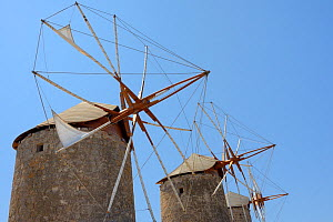 Restored windmills of the Monastery of St. John the Theologian, Chora, Patmos, Dodecanese Islands, Greece, August 2013.  -  Nick Upton