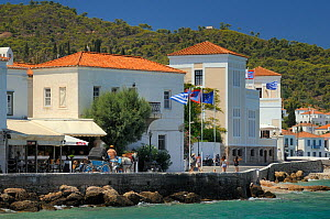 Spetses town with horse and carriage, Spetses, Saronic Islands, Attica, Peloponnese, Greece, August 2013.  -  Nick Upton
